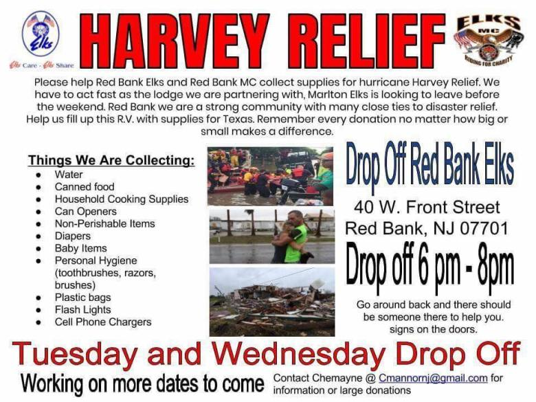 Harvey Relief Red Bank Elks Lodge