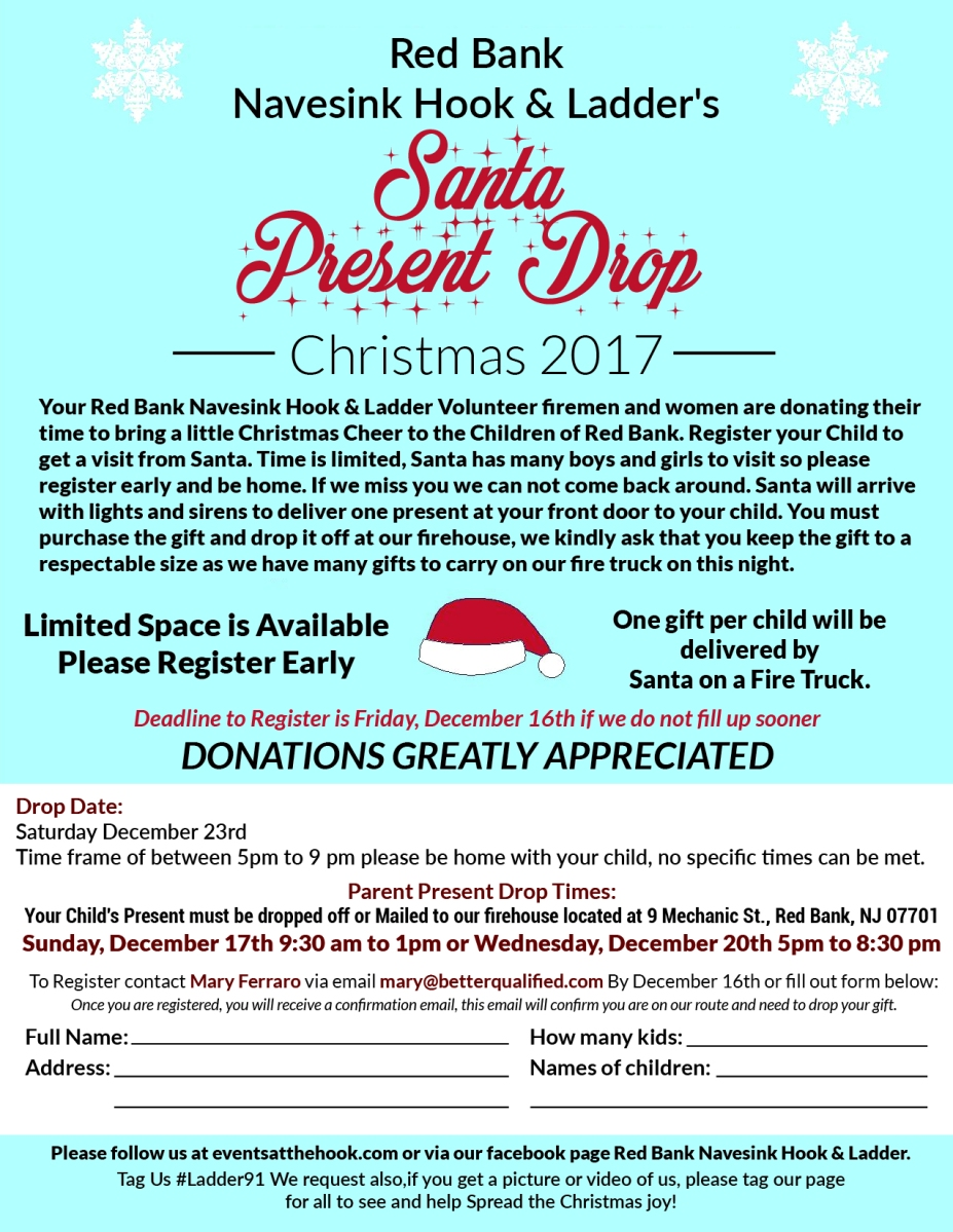 Register now to have Santa drop off gifts courtesy of the Red Bank ...