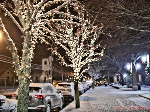 Red Bank Holiday Lights Night Snow 14 of 17