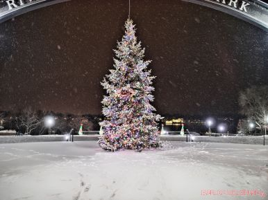 Red Bank Holiday Lights Night Snow 16 of 17