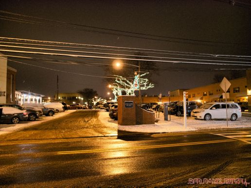 Red Bank Holiday Lights Night Snow 9 of 17