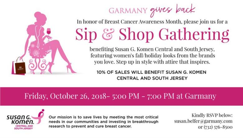 Sip & Shop Benefiting Susan G. Komen Central and South Jersey