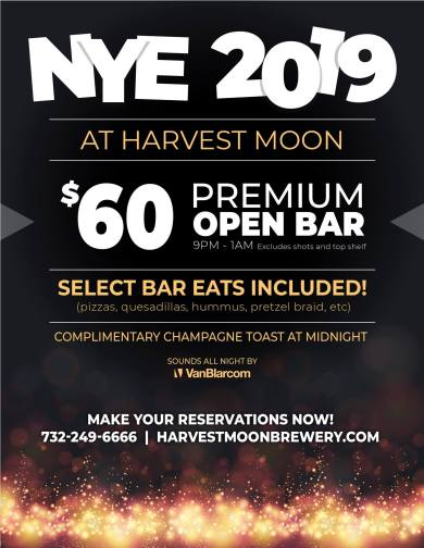 Harvest Moon Brewery & Cafe - New Brunswick new year's eve 2018