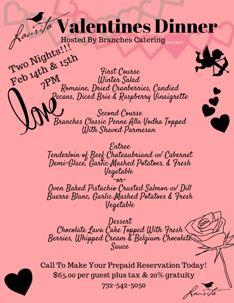 valentine's dinner menu at laurita winery