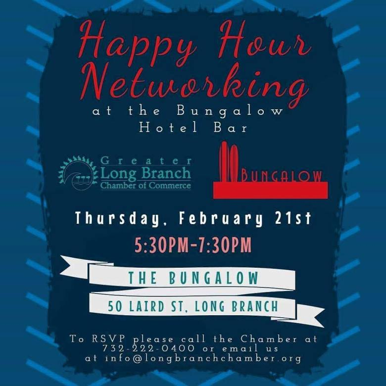 Happy hour networking Bungalow Hotel Long Branch Chamber of Commerce