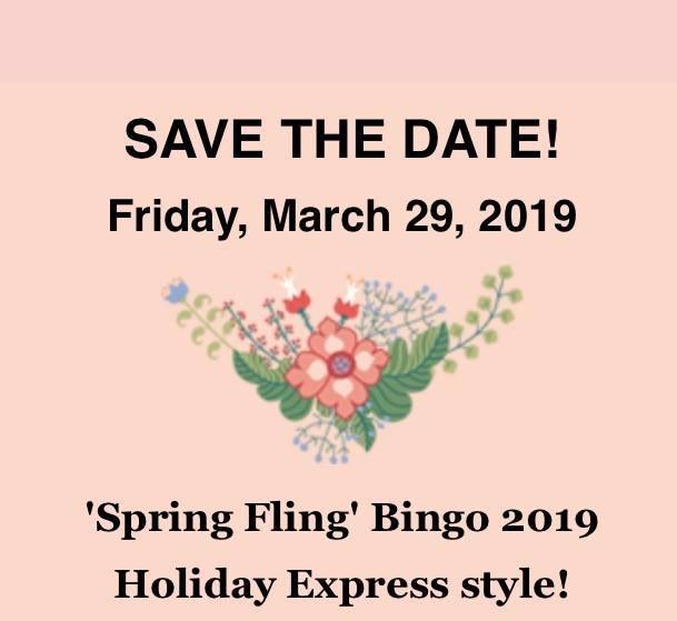 Spring Fling Bingo 2019 Holiday Express style