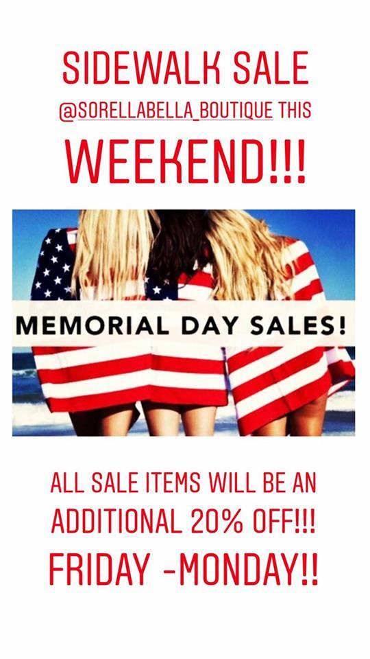 Memorial DAY Sales at Sorella Bella